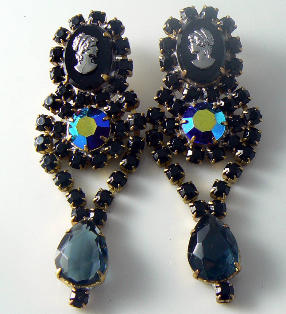 Czech Glass Black Cameo Pierced Earrings - Vintage Lane Jewelry