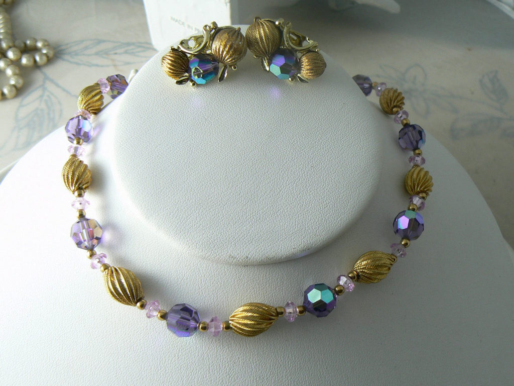 Vintage Ornate Purple Crystal And Gold Tone Necklace Earrings Set - Vintage Lane Jewelry