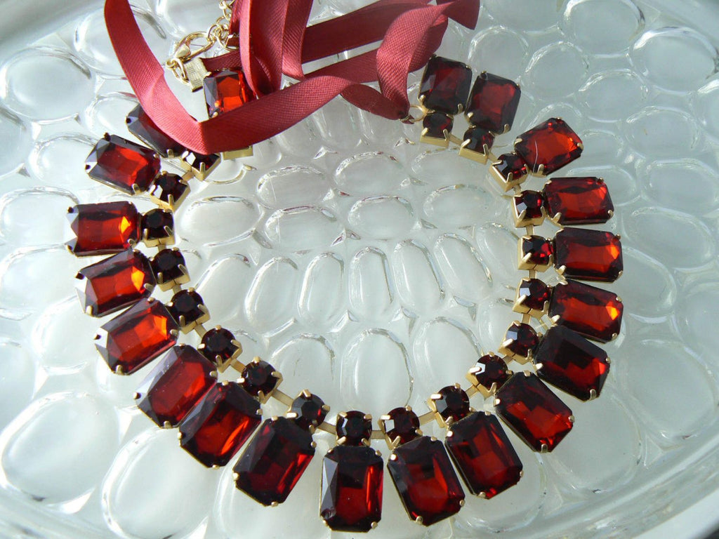 Coldwater Creek Ruby Red Rhinestone Ribbon Necklace - Vintage Lane Jewelry