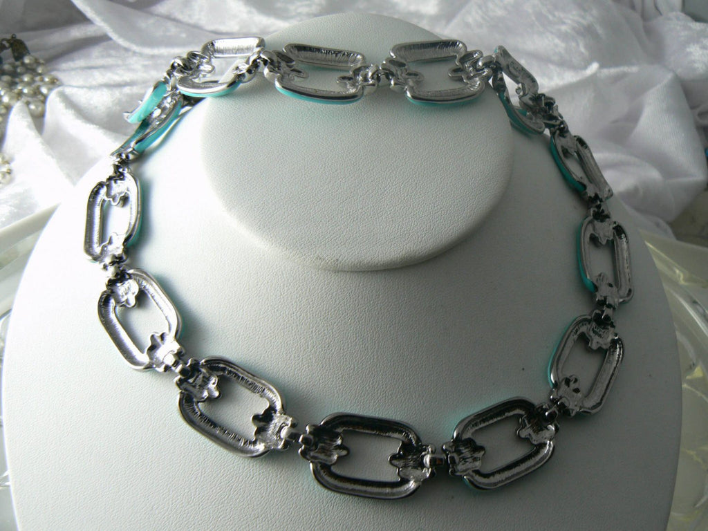 Signed Darla Vintage Necklace Bracelet Blue Enamel Chain Link Set - Vintage Lane Jewelry