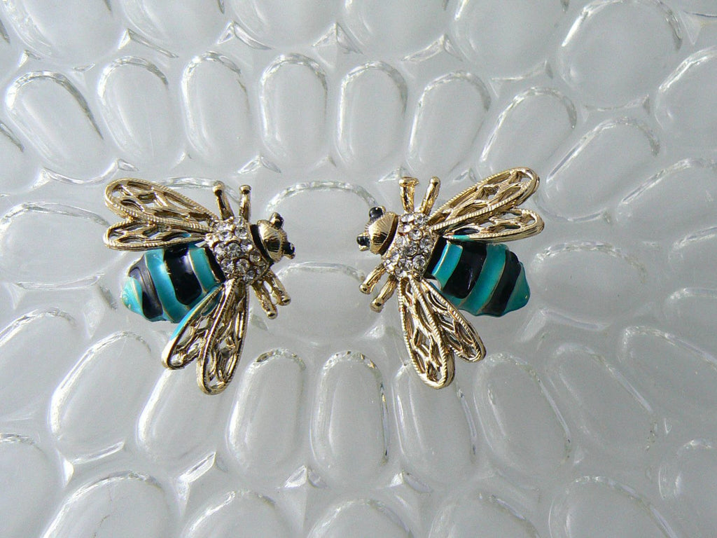 Matching Set Of Enamel Rhinestone Bees - Vintage Lane Jewelry
