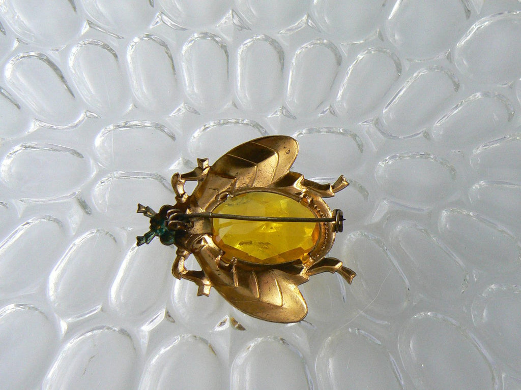 Topaz Rhinestone Fly Insect Brooch - Vintage Lane Jewelry
