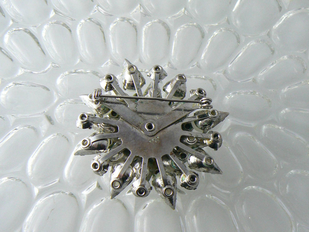 Vintage Opaque White Glass And Rhinestone Brooch - Vintage Lane Jewelry