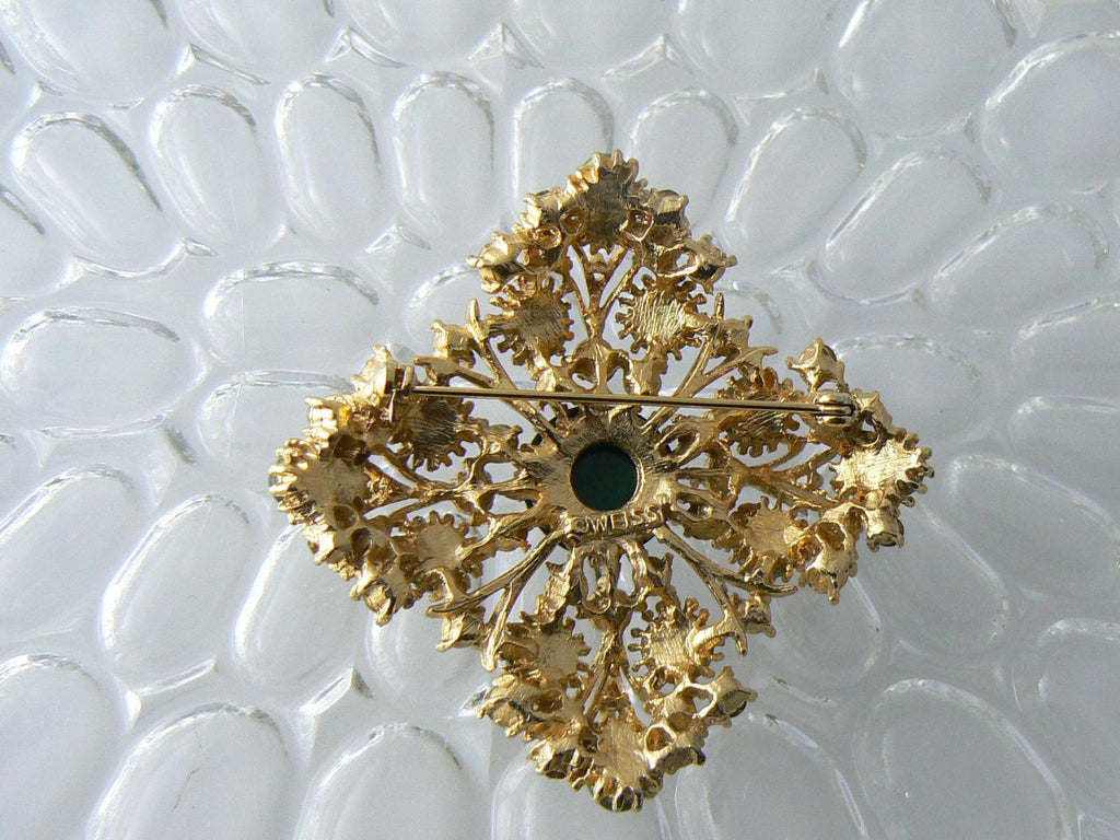 Sparkly Green And Gold Weiss Brooch - Vintage Lane Jewelry