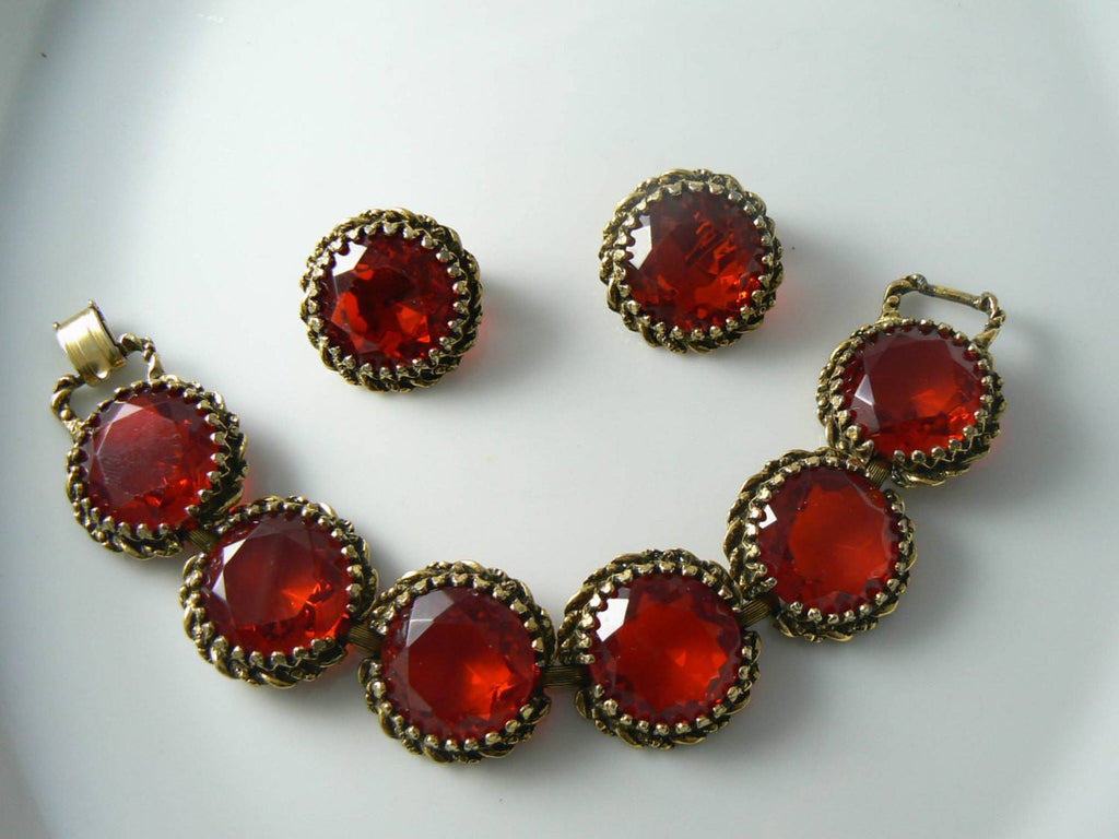 Stunning Ruby Red Glass Rhinestone Vintage Bracelet Earring Set - Vintage Lane Jewelry - 1