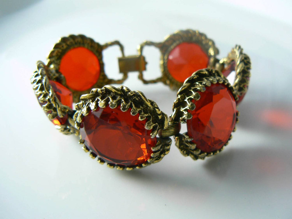 Stunning Ruby Red Glass Rhinestone Vintage Bracelet Earring Set - Vintage Lane Jewelry - 2