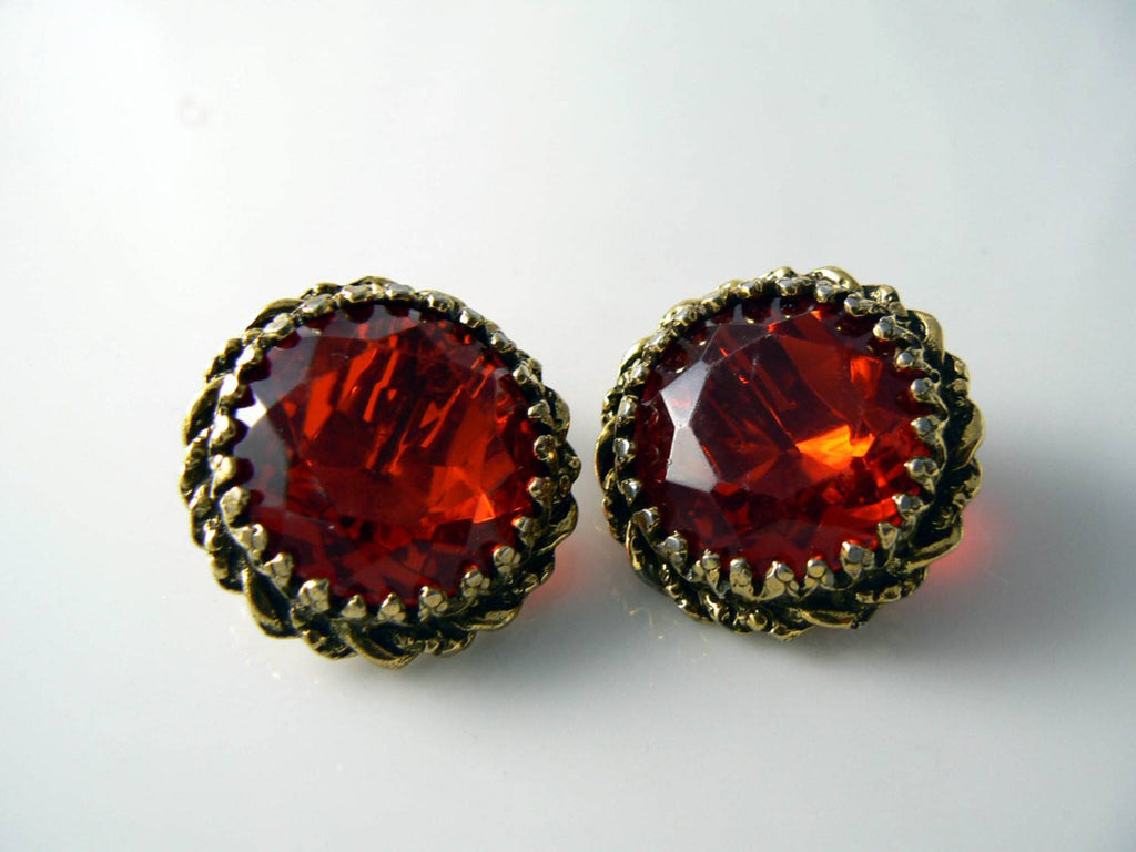 Stunning Ruby Red Glass Rhinestone Vintage Bracelet Earring Set - Vintage Lane Jewelry