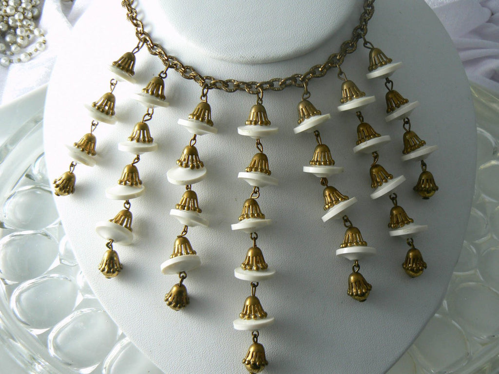 Antique brushed gold metal and white Lucite drop bib style necklace - Vintage Lane Jewelry