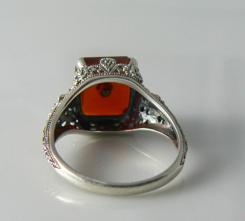 Art Deco Sterling Silver Carnelian Diamond Filigree Ring - Vintage Lane Jewelry - 2
