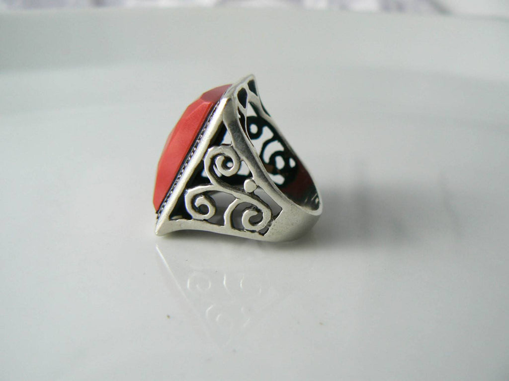 Chunky Sterling Silver Faceted Red Coral Ring - Vintage Lane Jewelry - 2
