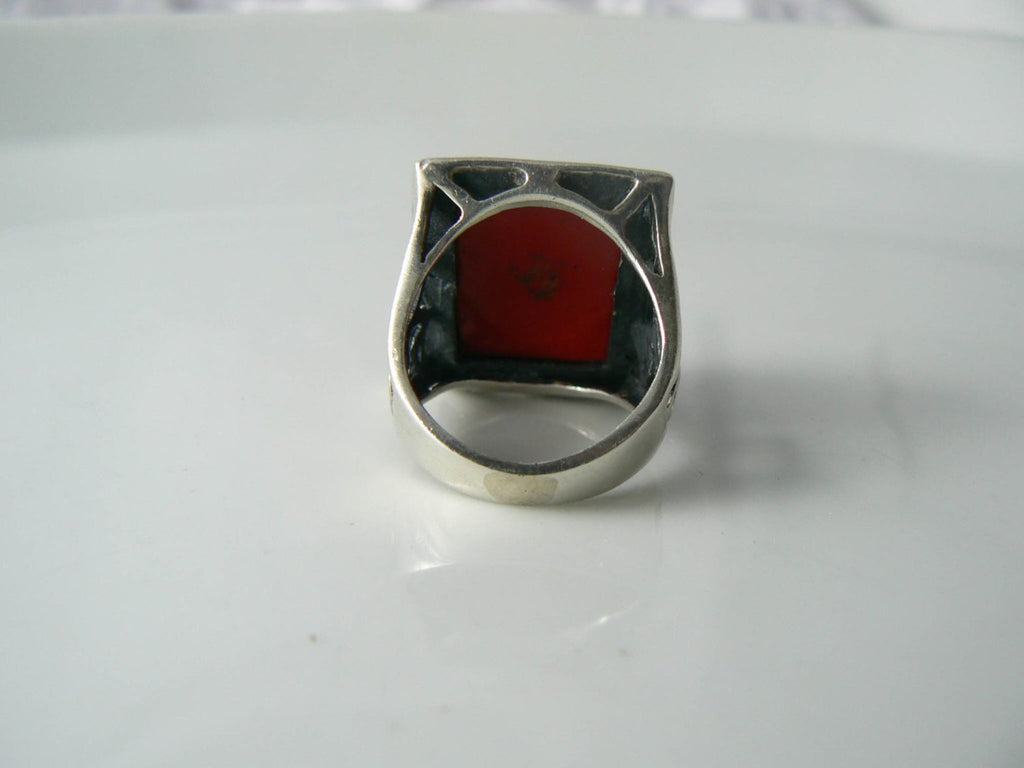 Chunky Sterling Silver Faceted Red Coral Ring - Vintage Lane Jewelry - 3
