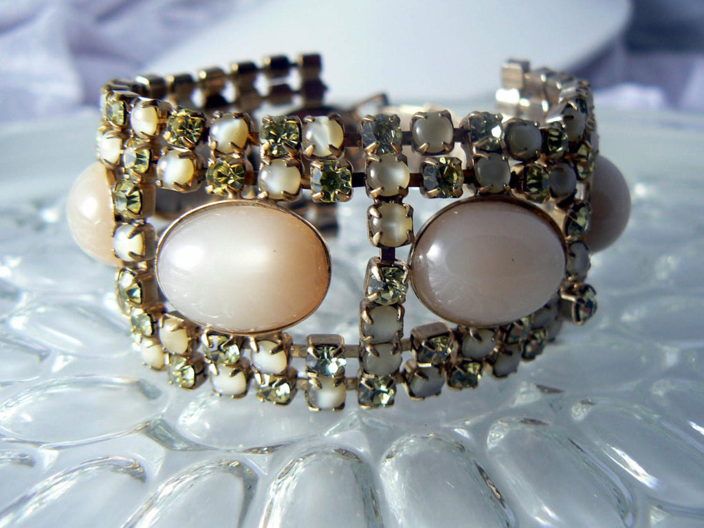 Vintage Peach Satin Yellow Rhinestone 7 Row Bracelet - Vintage Lane Jewelry