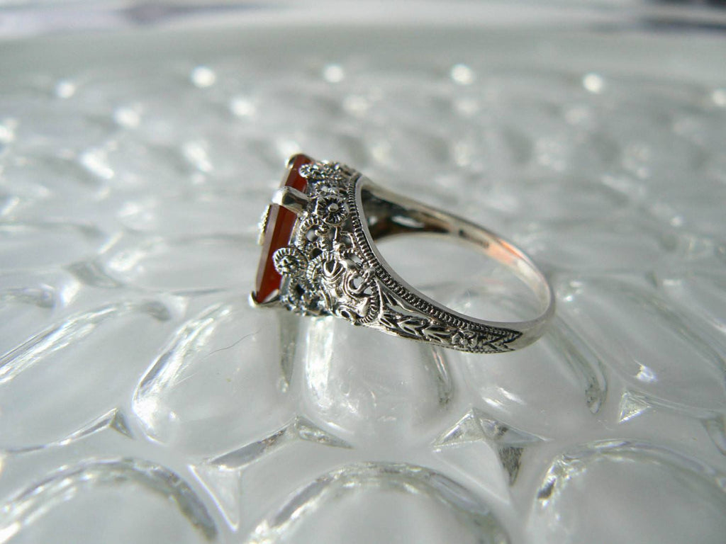 Art Deco Sterling Silver Carnelian Diamond Filigree Ring - Vintage Lane Jewelry - 3