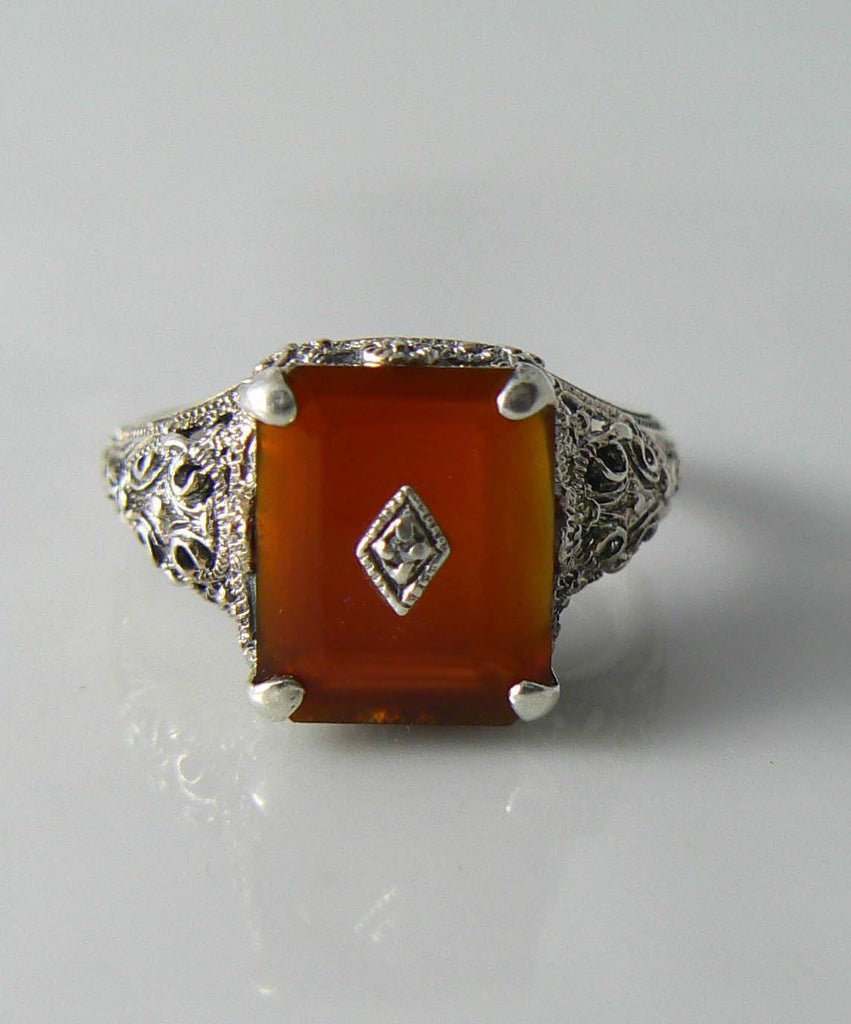 Art Deco Sterling Silver Carnelian Diamond Filigree Ring - Vintage Lane Jewelry - 1