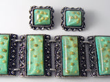 Gorgeous Green Confetti Lucite Chunky Bracelet Earring Set - Vintage Lane Jewelry