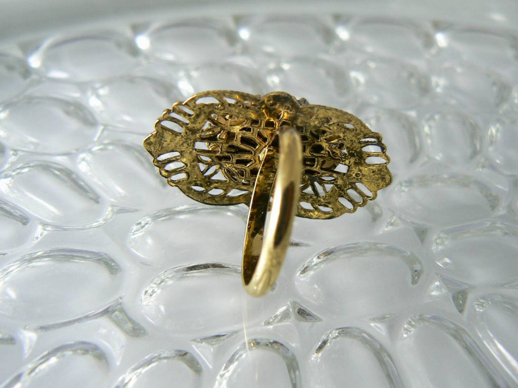 Vintage Carved Shell Italian Filigree Ring - Vintage Lane Jewelry