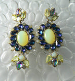 Pretty Czech Glass Vaseline Uranium Pierced Earrings - Vintage Lane Jewelry