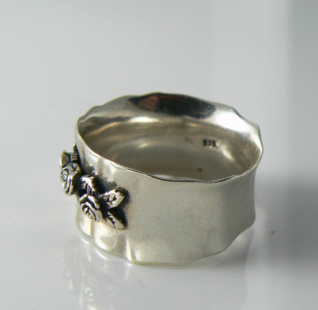 Sterling Silver Gathered Rose Wide Band Ring - Vintage Lane Jewelry