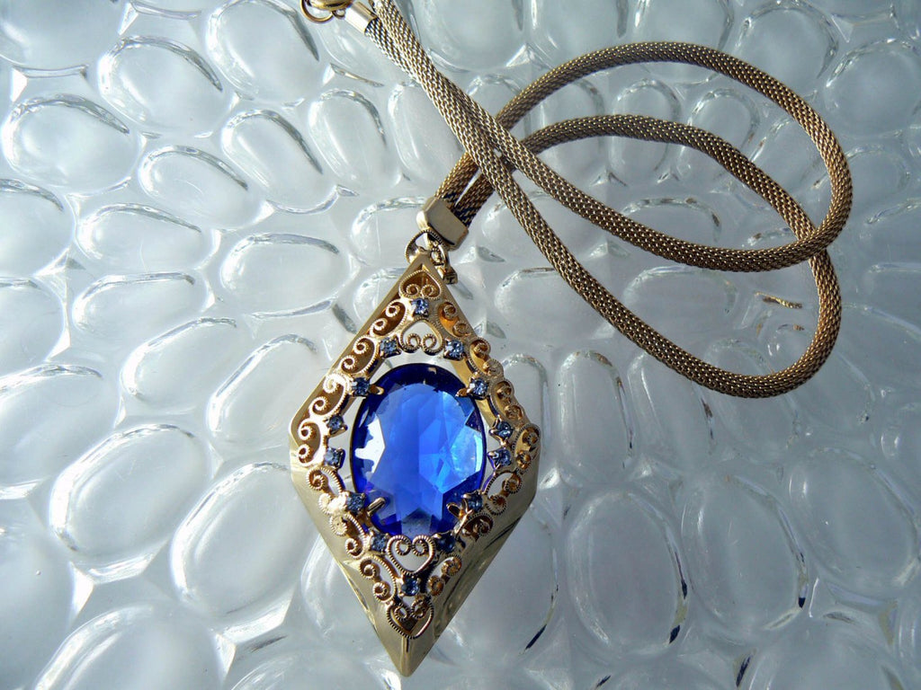 Vintage Juliana D & E Blue Pendant Necklace Book Piece - Vintage Lane Jewelry