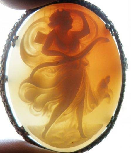 Edwardian Rare Silver Carnelian Cameo Goddess Brooch - Vintage Lane Jewelry