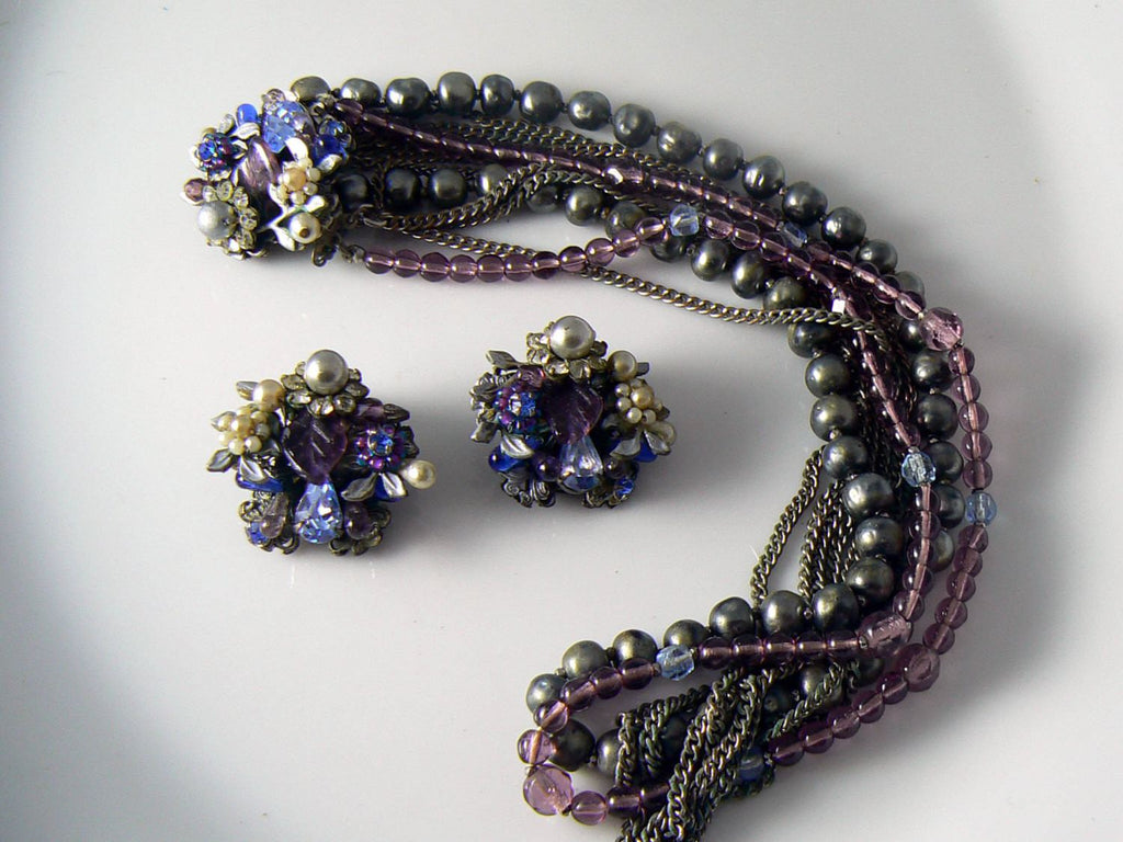 Vintage Shades Of Gray And Purple Signed Eugene Set - Vintage Lane Jewelry