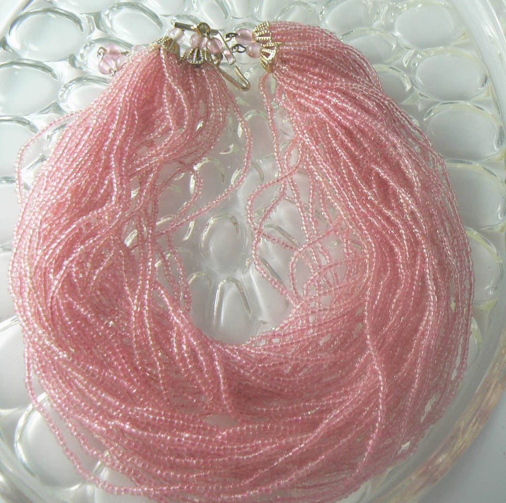 Vintage Multi-strand Translucent Pink Glass Seed Bead Choker - Vintage Lane Jewelry