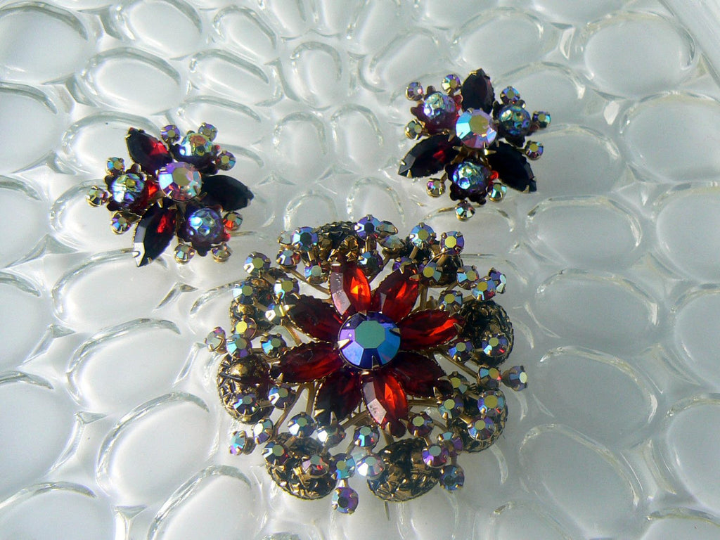 Vintage Judy Lee Red Molded Borealis Rhinestone Demi Parure - Vintage Lane Jewelry