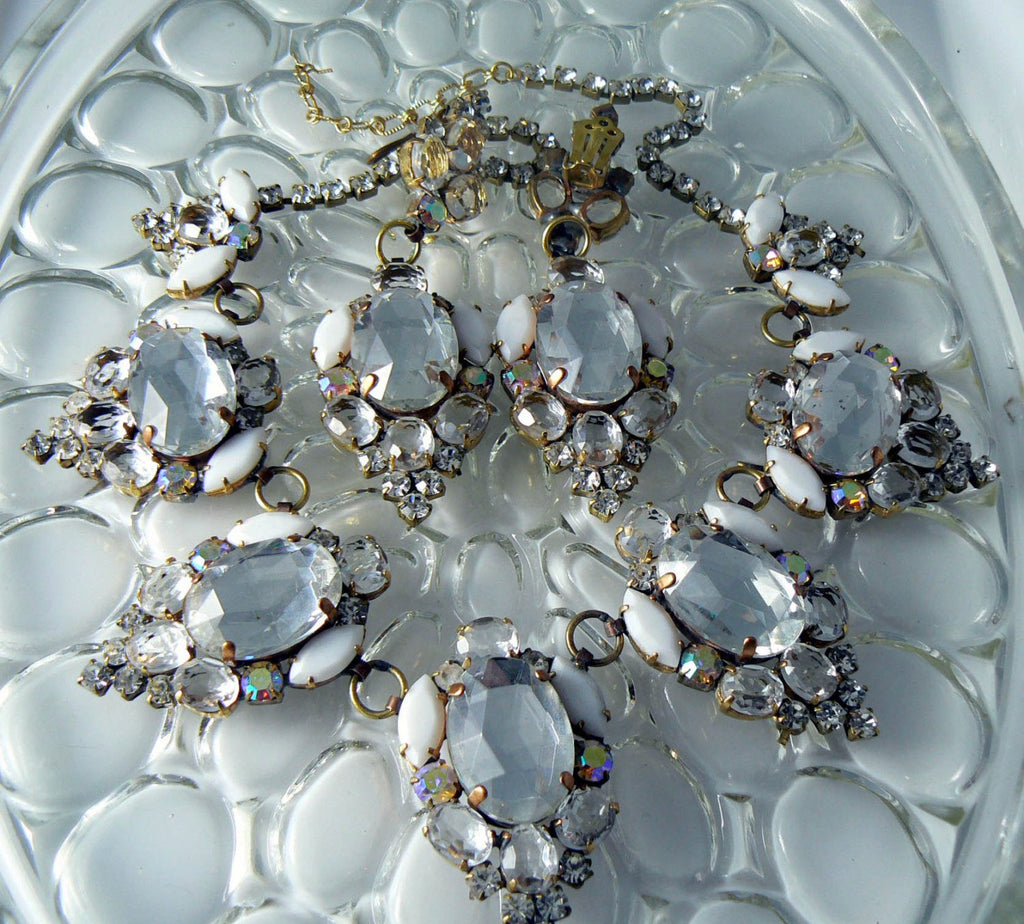 Husar D. Czech Glass White And Clear Rhinestone Necklace Earring Set - Vintage Lane Jewelry