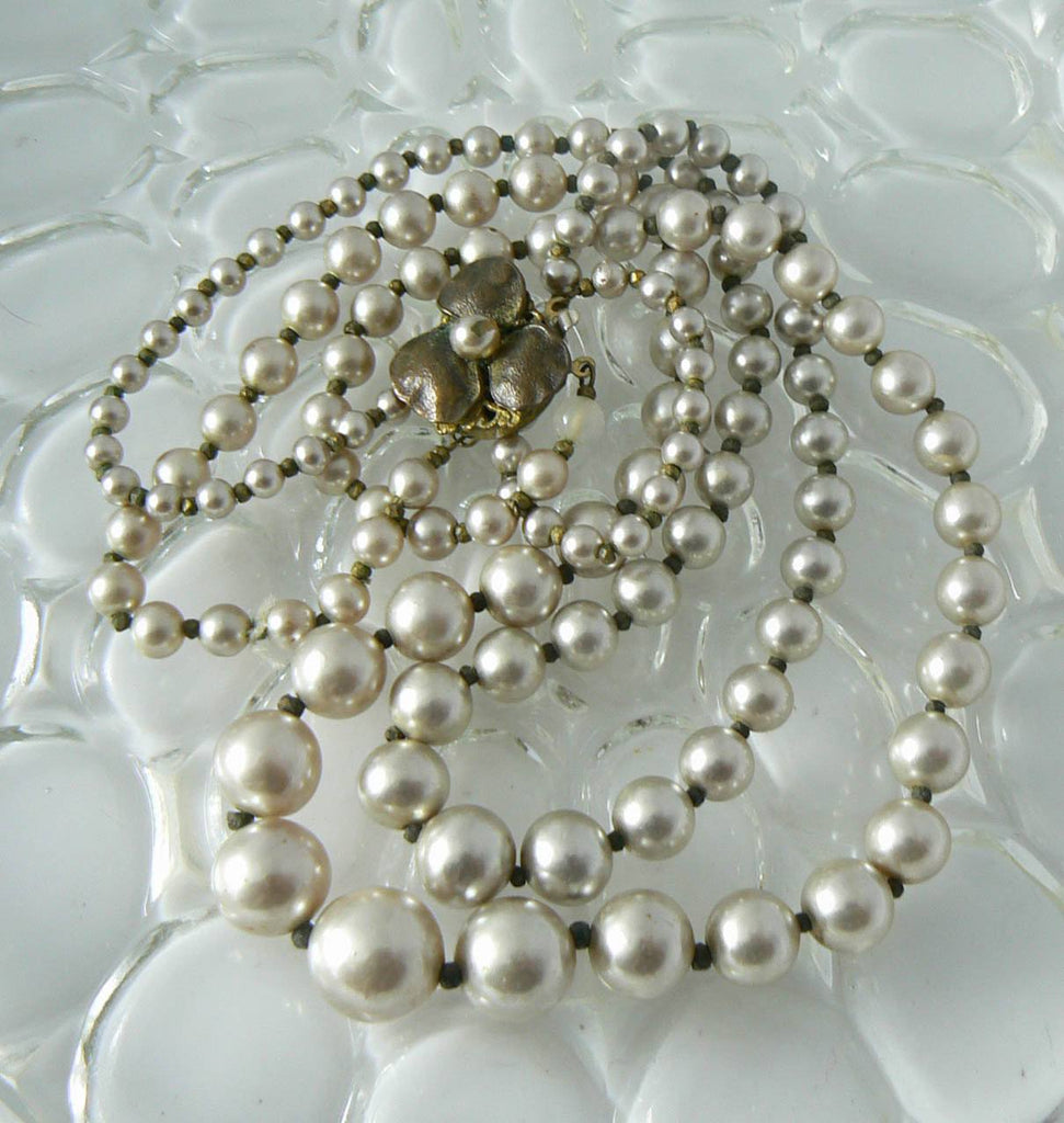 Miriam Haskell 2 Strand Glass Pearl Necklace - Vintage Lane Jewelry