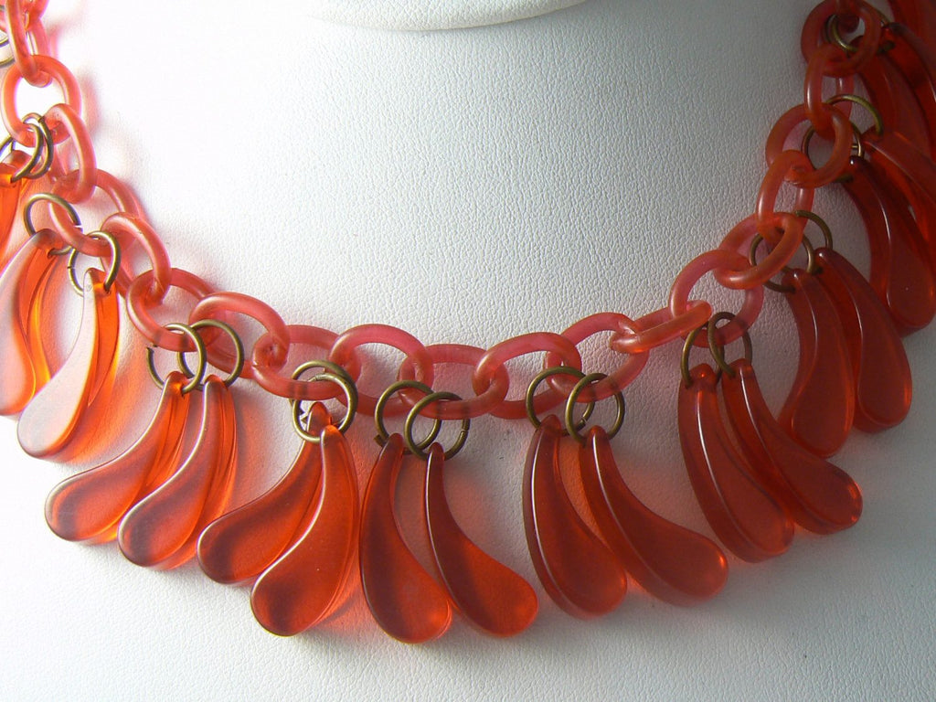 Vintage Art Deco Cherry Juice Bakelite Celluloid Necklace - Vintage Lane Jewelry