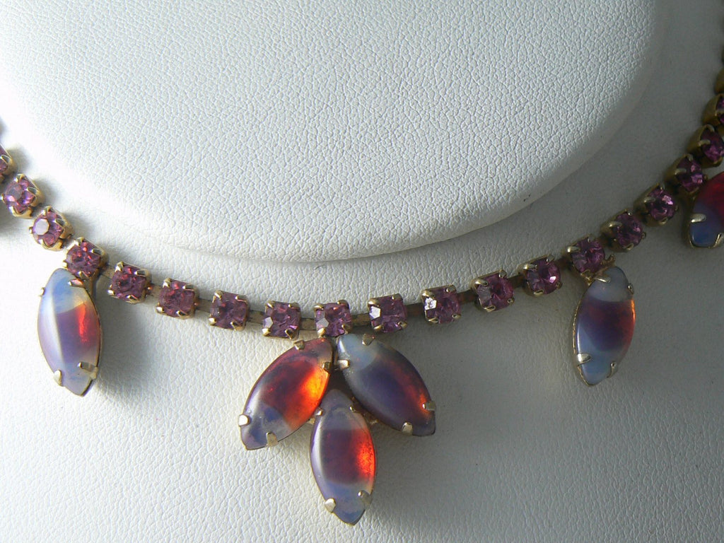 Vintage Pink Givre Art Glass Necklace - Vintage Lane Jewelry