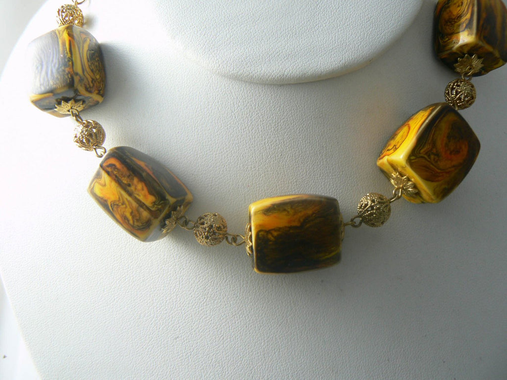 Chunky Celebrity Vintage Necklace Gold Tone Lucite Swirl Beads Square - Vintage Lane Jewelry