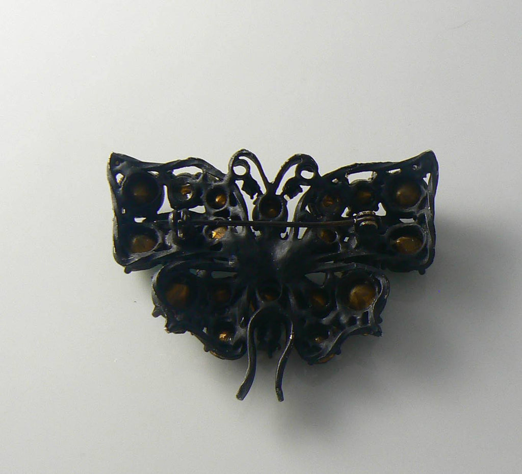 Japanned Blue And Green Rhinestone Butterfly Brooch - Vintage Lane Jewelry