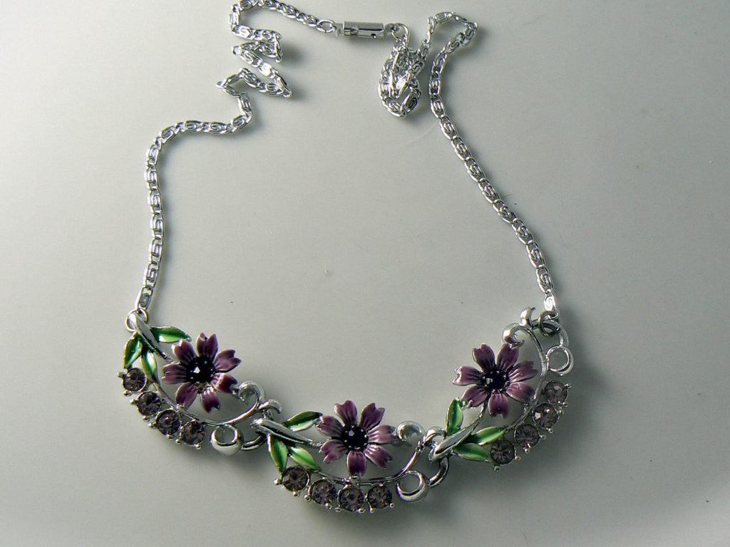 Vintage Rhinestone Enamel Purple Flower Necklace - Vintage Lane Jewelry