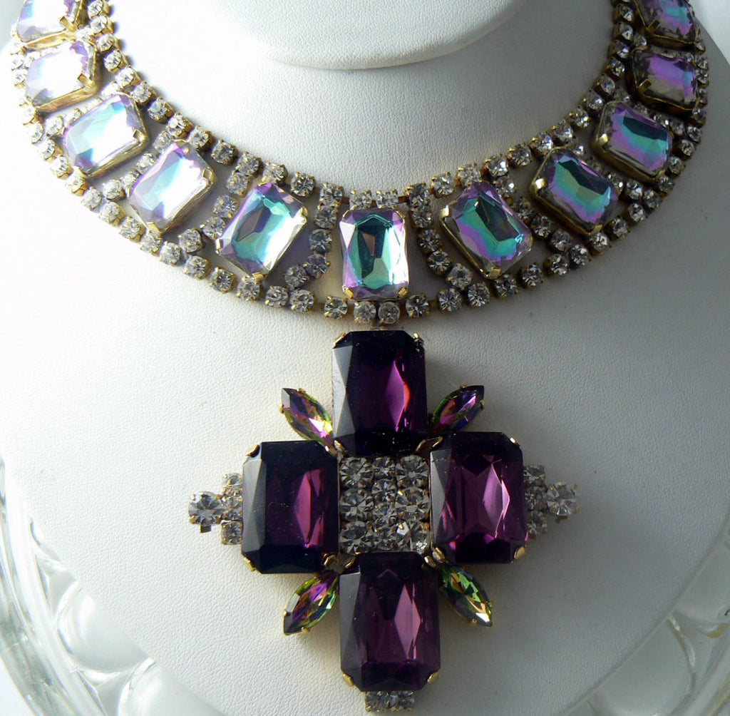 Czech glass Lavender and lilac AB rhinestone necklace - Vintage Lane Jewelry