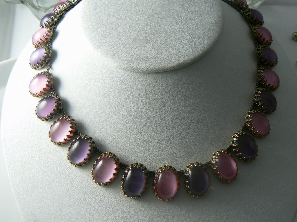 Vintage Pink And Amethyst Moon-glow Glass Necklace - Vintage Lane Jewelry