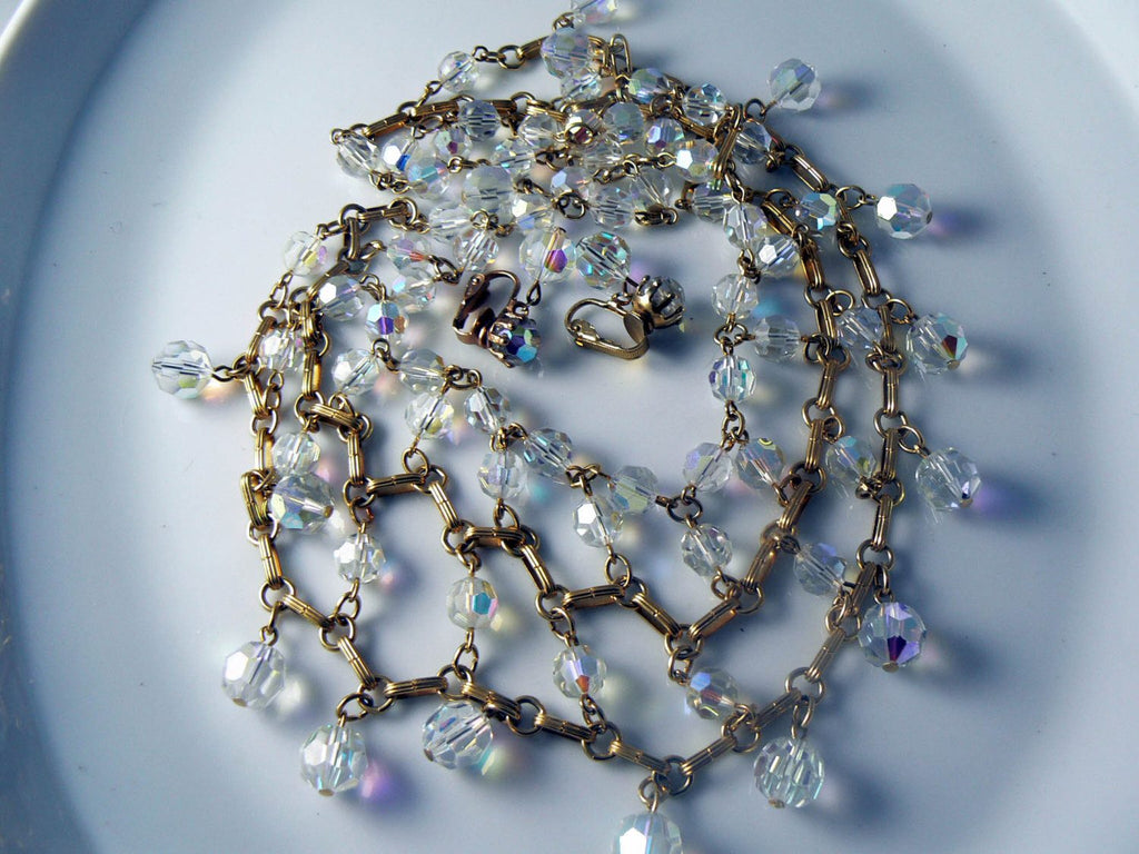 Gorgeous High End Crystal Drippy Bib Necklace And Earrings Set - Vintage Lane Jewelry