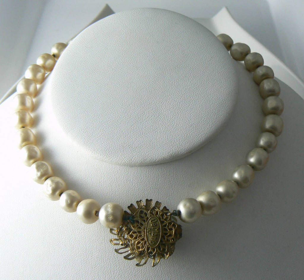 Lovely Signed Demario Baroque Glass Pearl Necklace/choker - Vintage Lane Jewelry