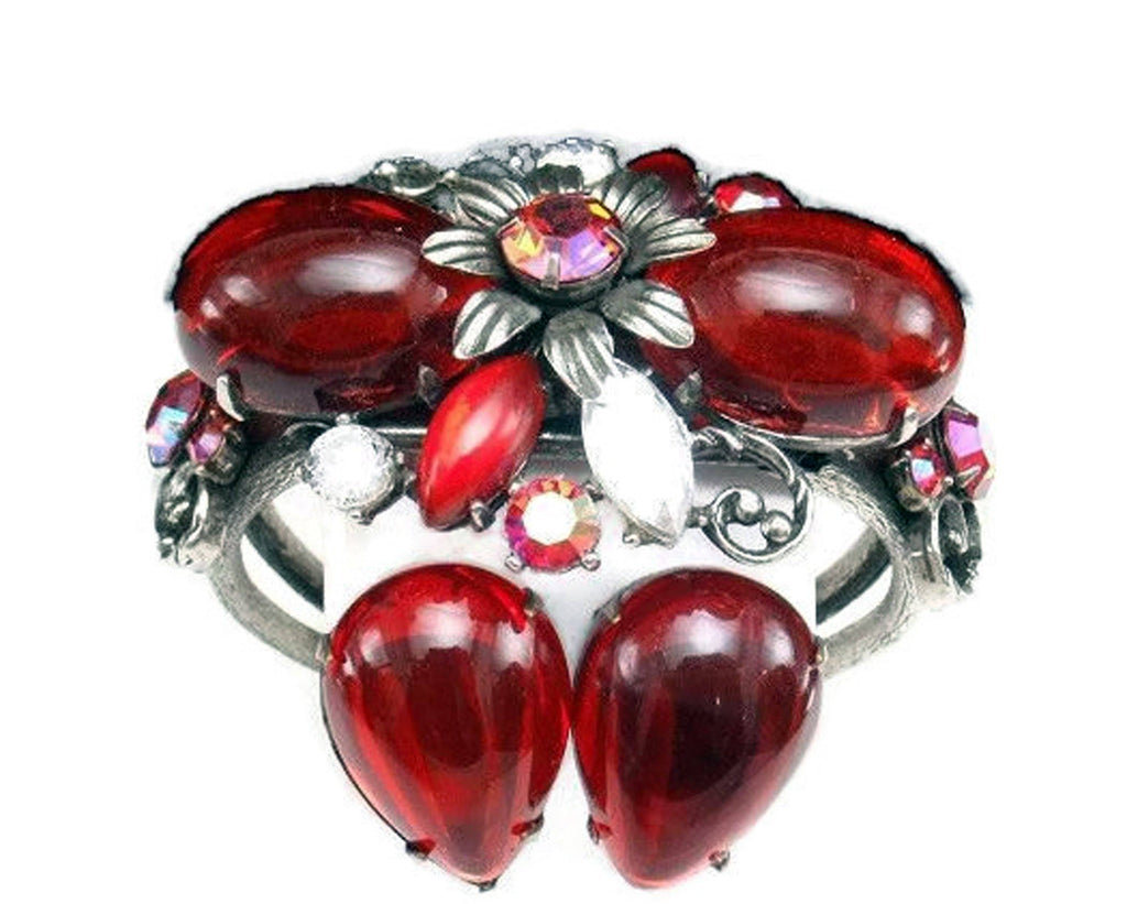 Vintage Selro Selini Chunky Ruby Red Cuff Bracelet And Earrings Set - Vintage Lane Jewelry