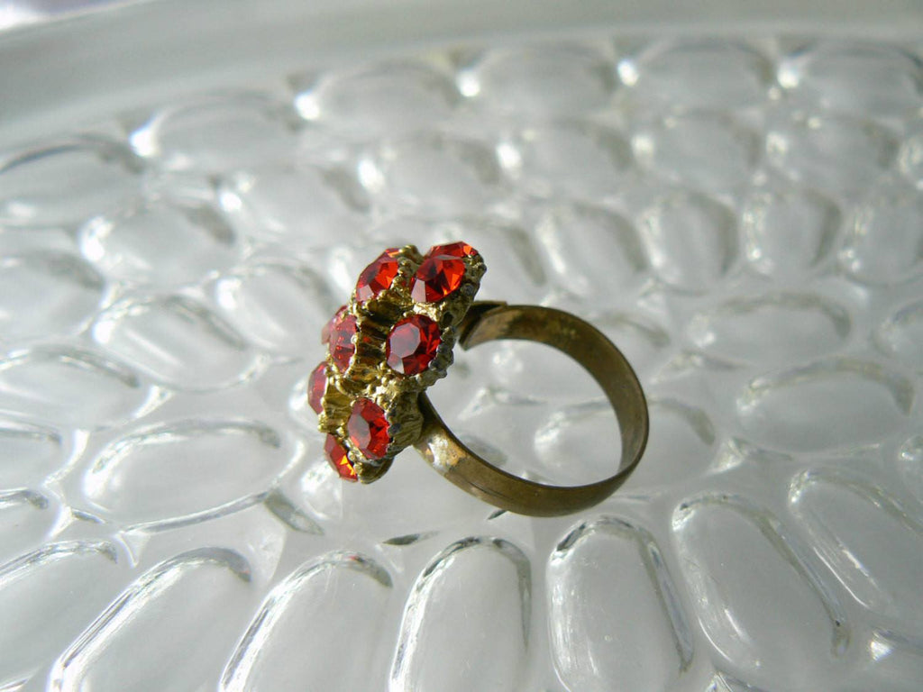 Red Dome Cocktail Ring - Vintage Lane Jewelry