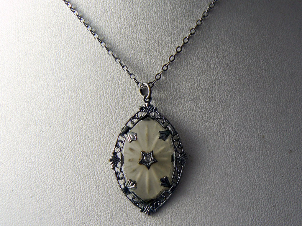 Vintage Camphor Glass And Crystal Pendant Necklace - Vintage Lane Jewelry