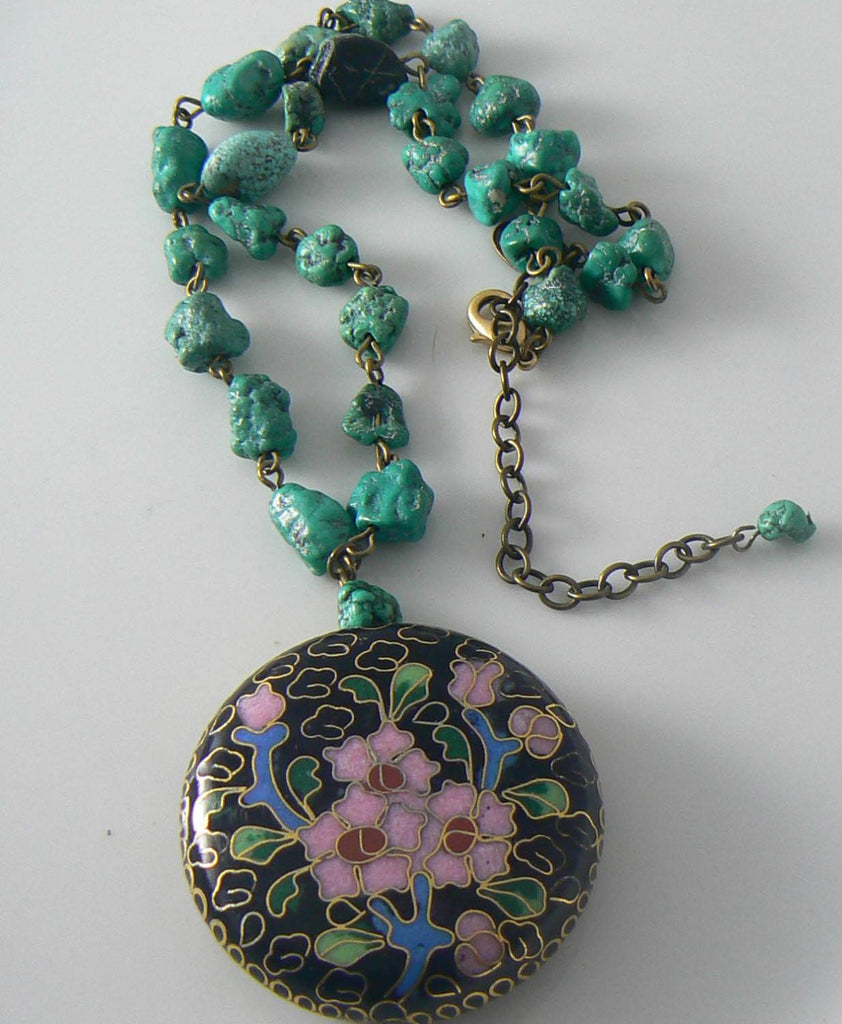Colorful Miriam Haskell Turquoise & Floral Cloisonne Pendant Necklace - Vintage Lane Jewelry