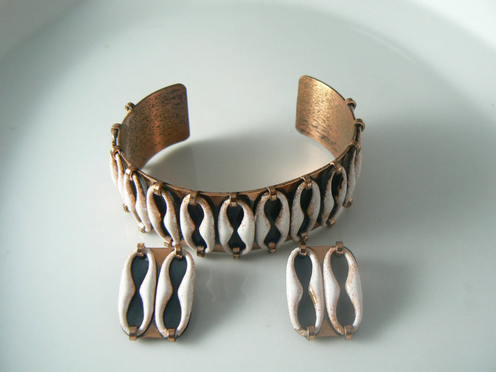 Vintage Renoir Matisse Copper And White Enamel Bracelet Earrings Set - Vintage Lane Jewelry