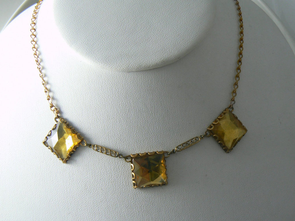 Art Deco Vauxhall Topaz Rhinestone Necklace - Vintage Lane Jewelry