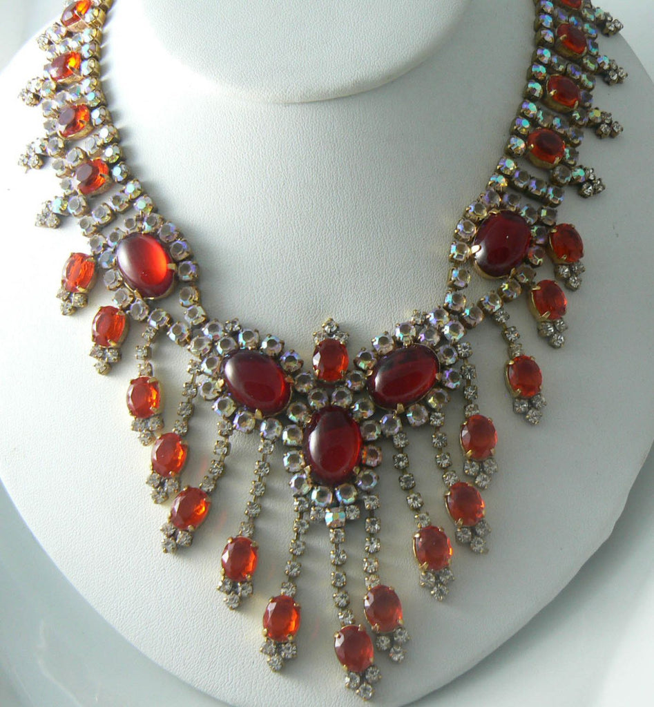 Husar D. Red Czech glass rhinestone Necklace - Vintage Lane Jewelry