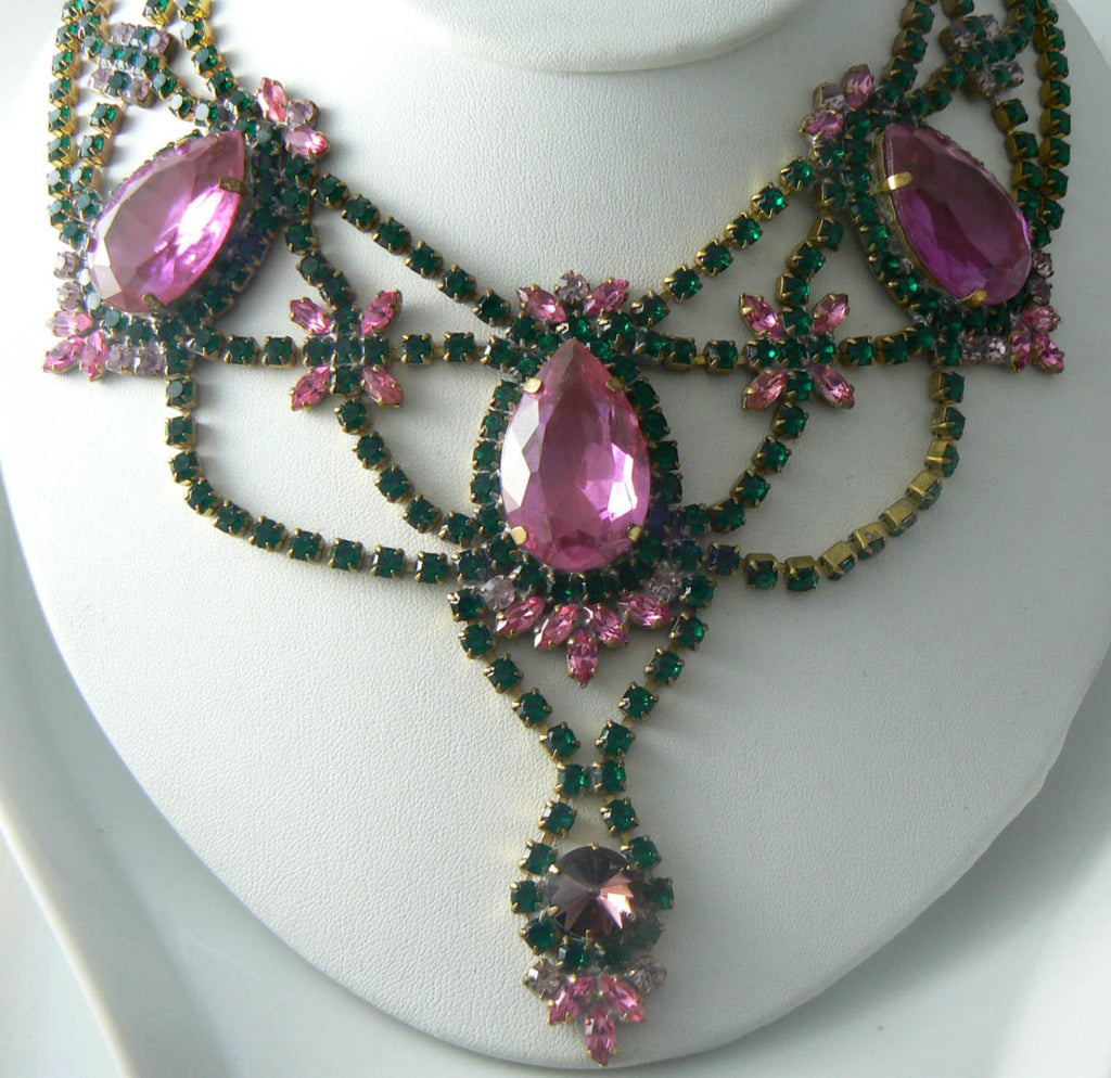 Czech Glass Pink And Green Rhinestone Necklace Signed Husar D. - Vintage Lane Jewelry