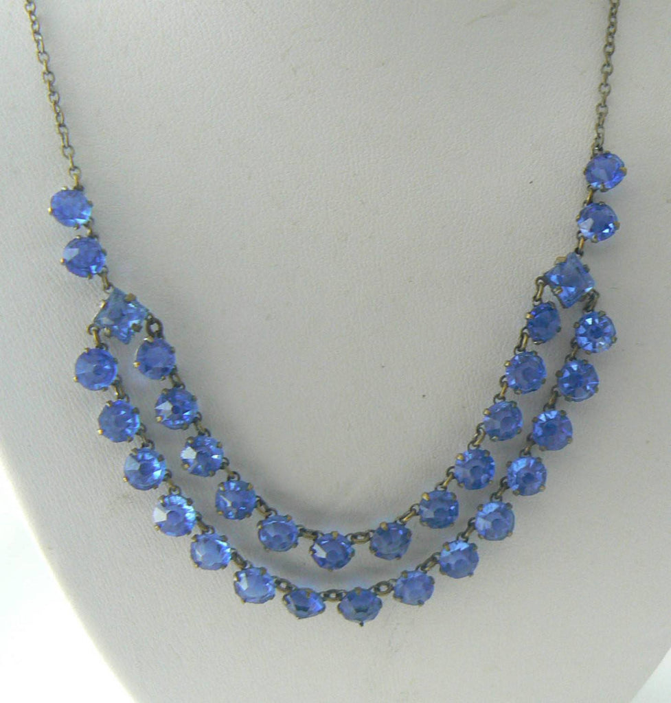 Beautiful Vintage Art Deco Blue Crystal Garland Necklace - Vintage Lane Jewelry