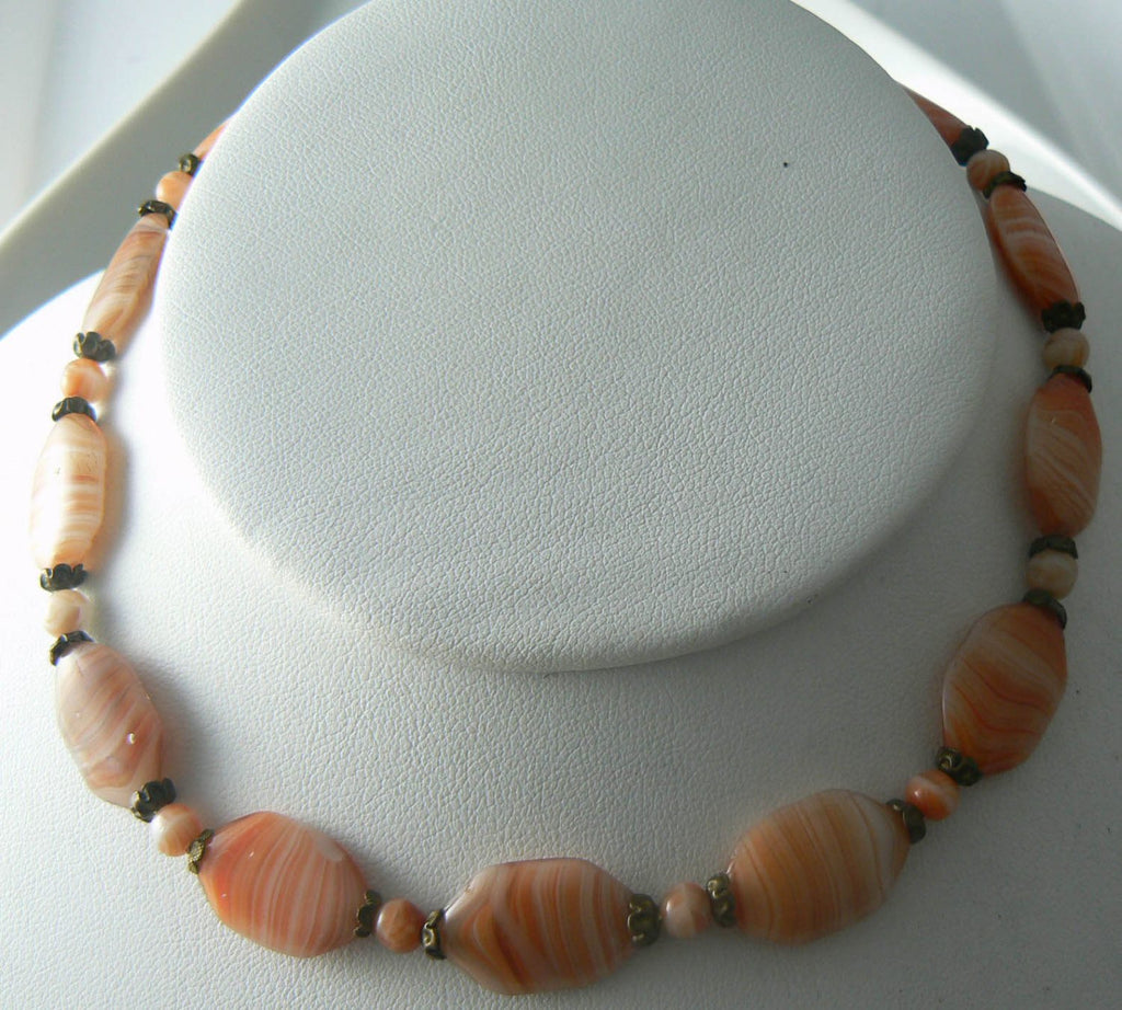 Vintage Orange Ripple Art Deco Geometric Glass Necklace - Vintage Lane Jewelry