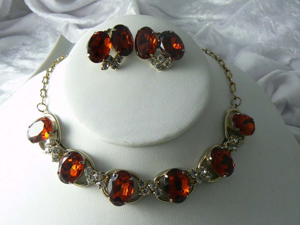 RootBeer Glass Rhinestone Necklace And Earrings - Vintage Lane Jewelry - 3
