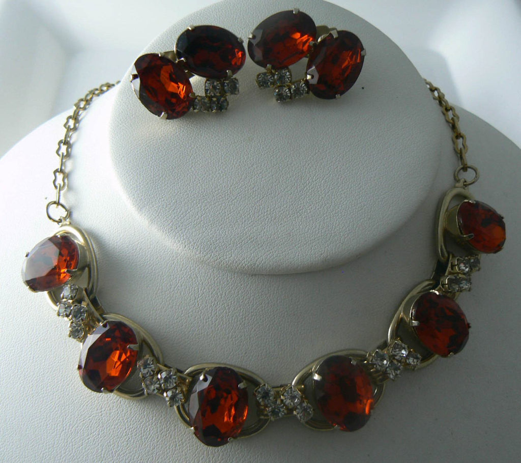 RootBeer Glass Rhinestone Necklace And Earrings - Vintage Lane Jewelry - 1